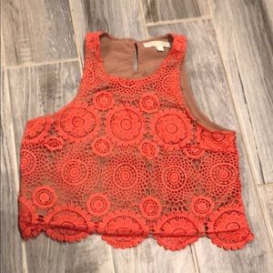 Tops - Crochet style cropped top! Perfect for the summer.
